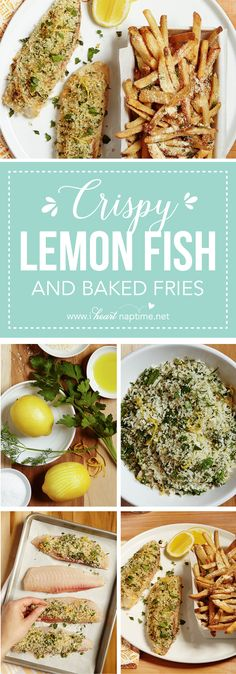 Crispy Lemon Baked Fish with Parmesan Fries - incredibly easy to cook oven! It's topped with a simple citrus and herb-seasoned panic breadcrumbs so there's no dredging and frying. A generous sprinkling of Parmesan spruces up frozen fries to make the perfect accompaniment.