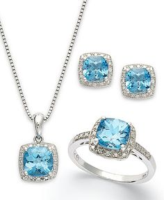 Sterling Silver Jewelry Set, Blue Topaz (5-7/8 ct. t.w.) and Diamond Accent Necklace, Earrings and Ring Set - Earrings - Jewelry & Watches - Macy's