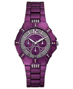 GUESS Watch, Women's Purple Aluminum Bracelet 41mm U0024L2 - All Watches - Jewelry & Watches - Macy's