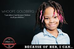"""Whoopi Goldberg"", Eunique Jones Gibson's 'Because Of Them, We Can' photos of kids posing as Black icons Black History Month, Whoopi Goldberg, Black Figure, Black Actors, Famous Black, History Of Photography, Kid Poses, My Black Is Beautiful, African American History"