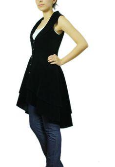 Veste longue gothique en velours noir