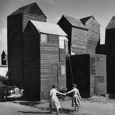 'Skyscraper' fishermen's sheds, the Stade, Hastings, Architectural Press Archive / RIBA Collections. Hastings Old Town, Hastings England, Architecture Design, Black Architecture, Classical Architecture, Landscape Architecture, Inspiration Art, Country Art, East Sussex