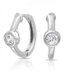 Bling Jewelry Bezel Set 4mm Round Solitaire CZ Huggie Hoop Earrings Sterling
