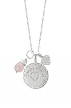 sterling silver rose quartz charm