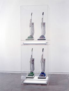 Jeff Koons - Artwork: New Hoover Convertibles, Green, Blue, New Hoover Convertibles Green, Blue Doubledecker: acrylic, fluorescent lights, vacuum cleaner, vacuum cleaners.