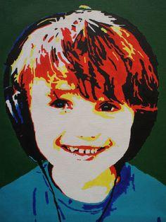 Lasse (6 jr.) geschilderd in pop-art stijl op een doek van 30 X 40 cm. Zie zijn stralende blik!