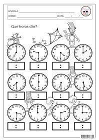 SOSPROFESSOR-ATIVIDADES: Que horas são? 3rd Grade Math Worksheets, Kindergarten Worksheets, Worksheets For Kids, Math Activities, Math Sheets, School Programs, Math For Kids, Math Classroom, Teaching Math
