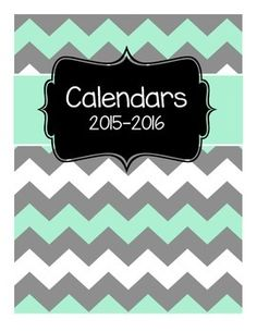 Free set of calendars to use in a Teacher Binder for the 201-2016 school year.This product is part of the Editable Teacher Binder