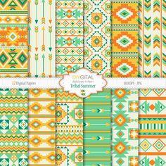 Tribal Summer digital paper set 12 aztec digital by DIYgital