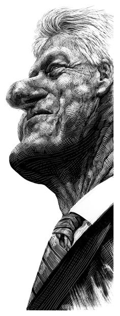 Editorial Illustration of Bill Clinton using cross-hatching (artwork by Ricardo Martinez) Ink Illustrations, Illustration Art, Scratchboard Art, Cross Hatching, Celebrity Caricatures, Portraits, Black White Art, Commercial Art, You Draw