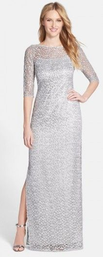 43eb2fa68eb Women s Kay Unger Sequin Lace Colum Gown Sheer Lace Dress