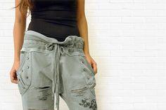Women oversize pants sage green jogging by sevenseventyfashion, $192.00