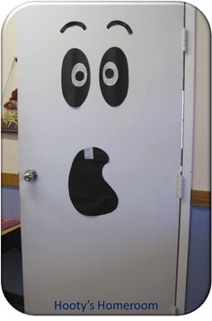 "For a movie night at school showing ""Casper"", promote the event by decorating the classroom door with a ghost.    - Southern Outdoor Cinema event planning tip for promoting a movie night at school."