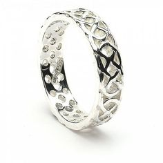 The Keela pierced Celtic band is a timeless Celtic knot band without beginning or end, representing your eternal love and commitment to your spouse. Irish Wedding Rings, Celtic Wedding Bands, Wedding Ring Bands, Sterling Silver Layered Necklace, Layered Necklaces Silver, Silver Rings, Celtic Knot Ring, Celtic Rings, Celtic Knot Designs
