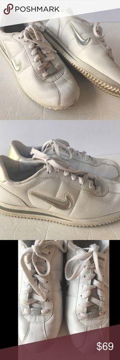 cc6a058b3c3 Nike Cortez  72 8 White Leather Jewel Swoosh Nike Cortez  72 Sneakers Shoes  Women s