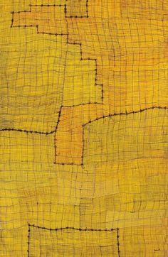 ymutate: Helen Tyalmuty McCarthy, Syaw (Fish Net) 2008 Acrylic on Linen… Textures Patterns, Print Patterns, Pattern Art, Aboriginal Painting, Textiles, Mellow Yellow, Color Yellow, Yellow Black, Australian Art