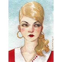 "Woman Beehive Hairdo 1960s Illustration ACEO ""She Had an Axe to Grind"" Limited Edition Print by Amy Abshier Reyes 5/50"
