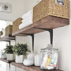 Easy, Simple, and very Cheap. DIY Rustic Shelves can add much needed storage to any bathroom or office space Easy, Simple, and very Cheap. DIY Rustic Shelves can add much needed storage to any bathroom or office space Rustic Bathroom Shelves, Laundry Room Shelves, Rustic Shelves, Bathroom Storage, Storage Room, Storage Shelves, Laundry Rooms, Small Bathroom, Bathroom Organization
