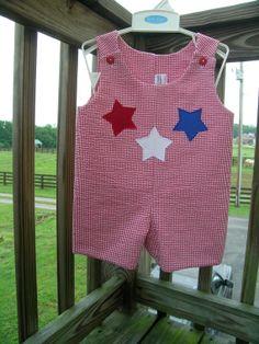oh dear..... adorable Boys Shortall Jon Jon Romper Americana 4th of July by HeartTugzs, $32.00