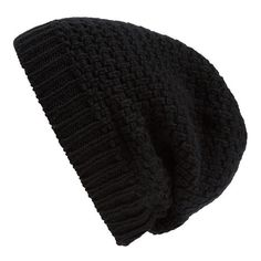 Women's Rick Owens Knit Wool Beanie (€140) ❤ liked on Polyvore featuring accessories, hats, beanie, black, saggy beanie, slouch beanie hats, beanie cap hat, wool knit beanie and slouchy beanie