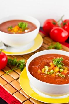 Gazpacho. A very healthy chilled soup. Probably best served during the summer months. Full of healthy goodness.