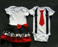 Boy Girl Twin Matching Outfits/Sibling - Red Black White Polka Dots.