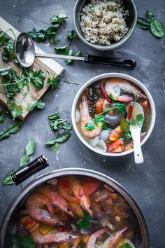 Tom Yum Goong is a very popular Thai soup that is sour, spicy, savory and incredibly aromatic.