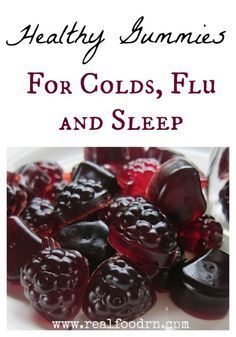Healthy Gummies for Cold, Flu and Sleep. Made with tart cherry juice (helps with sleep), gelatin (also helps with sleep), honey (immune boosting), and elderberry syrup (antiviral and immune boosting). These work like magic! #realfoodrn