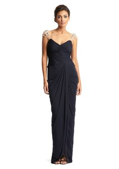 LOVE the sleeves! ADRIANNA PAPELL Illusion Sleeve Drape Gown
