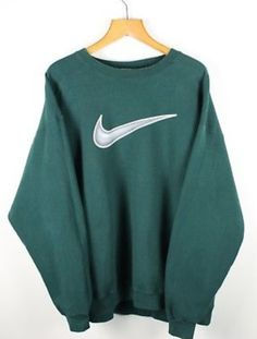 fc88e9d579 FOR SALE  Vintage 90s NIKE Big Swoosh Green Sweatshirt Jumper