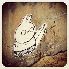 Fuuki Friday. Surfs up at Bondi! #fuuki #atbondi #bondi #streetart #pasteup #surf #bunny #sydney