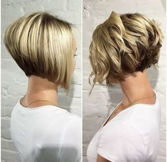 """It can not be repeated enough, bob is one of the most versatile looks ever. We wear with style the French """"bob"""", a classic that gives your appearance a little je-ne-sais-quoi. Here is """"bob"""" Despite its unpretentious… Continue Reading → Short Stacked Bob Haircuts, Asymmetrical Bob Haircuts, Stacked Bob Hairstyles, Bob Haircuts For Women, Short Hairstyles For Thick Hair, Curly Bob Hairstyles, Short Hair Cuts, Curly Hair Styles, Curly Short"""