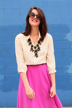 nude blouse & hot pink skirt= darling for work and Easter :)