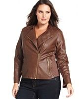 I've always loved brown leather, but never thought I could pull off wearing a leather jacket - Calvin Klein Plus Size Jacket, Faux Leather Ribbed Motorcycle