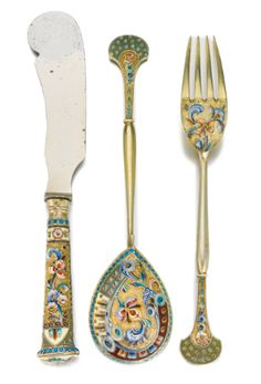 set of silver-gilt and cloisonné enamel flatware, Konstantin Skvortsov, Moscow, Silver Cutlery, Vintage Cutlery, Sterling Silver Flatware, Silver Spoons, Cutlery Set, Silver Enamel, Antique Silver, Viking Jewelry, Russian Art