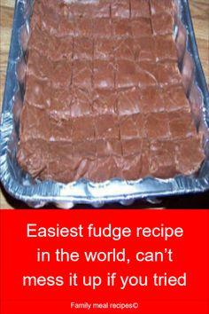 Easiest fudge recipe in the world, can't mess it up if you tried - Family meal. - Recipes to Cook - Schokolade Köstliche Desserts, Delicious Desserts, Dessert Recipes, Meal Recipes, Cooking Recipes, Cooking Tips, Cooking Chef, Sausage Recipes, Easy Cooking