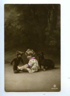 Girl w Teddy Bear Dachshund Dog Vintage Photo PC