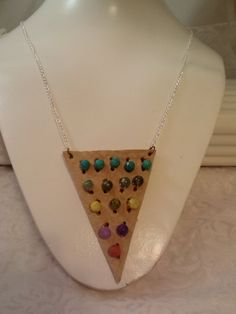 Now on Clearance!  OOAK   Bohemian Tan Leather Triangle Necklace and by SkullMoto, $18.00