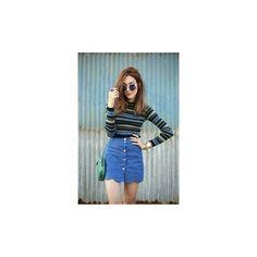 Denim skirt via Polyvore featuring skirts, knee length denim skirt, blue skirt, denim skirt and blue denim skirt