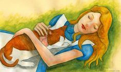 Alice and Dinah - Alice in Wonderland