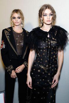 Gigi Hadid backstage at the Alberta Ferretti fashion show during Milan Fashion Week
