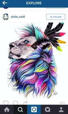 watercolor lion side profile