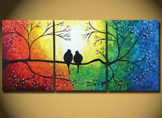 "LOVE BIRDS - HUGE Painting, Rainbow Love Bird 54"",  Original Painting On Canvas, Abstract Tree Painting, colors, Rainbow Love Birds on Tree on Etsy, $349.00"
