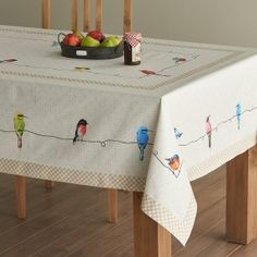 4. Birdies On Wire Cotton Tablecloth