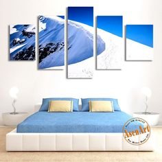 5 Piece Canvas Art Snow Mountain Landscape Painting Canvas Printing Modern Home Decor Picture for Living Room Unframed  #prints #printable #painting #canvas #empireprints #teepeat