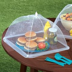 Screens to keep annoying bugs from crawling all over your picnic food.