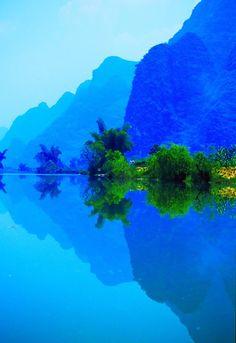 Silhouettes in Blue, Li River, China