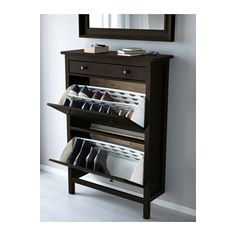 """This version of Ikea's HEMNES is deeper (11"""") but narrower (35"""") Legs at front only, to nestle close to the wall above a base-board. A petite drawer on top, and two tilt-open panels to hold shoes (or WHATEVER) vertically. Compare to https://www.pinterest.com/pin/38702878026604919/"""