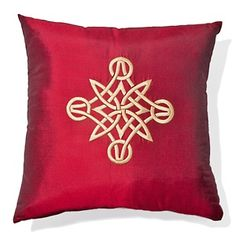 """Rose Tree Kashmir Embroidered 18"""" Pillow - Red at HSN.com."""