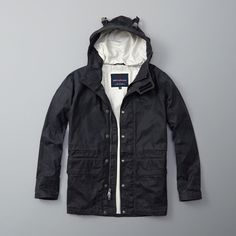 Abercrombie & Fitch Wax Foul Weather Jacket (€270) ❤ liked on Polyvore featuring men's fashion, men's clothing, men's outerwear, men's jackets, navy, old navy mens jackets and mens hooded jackets